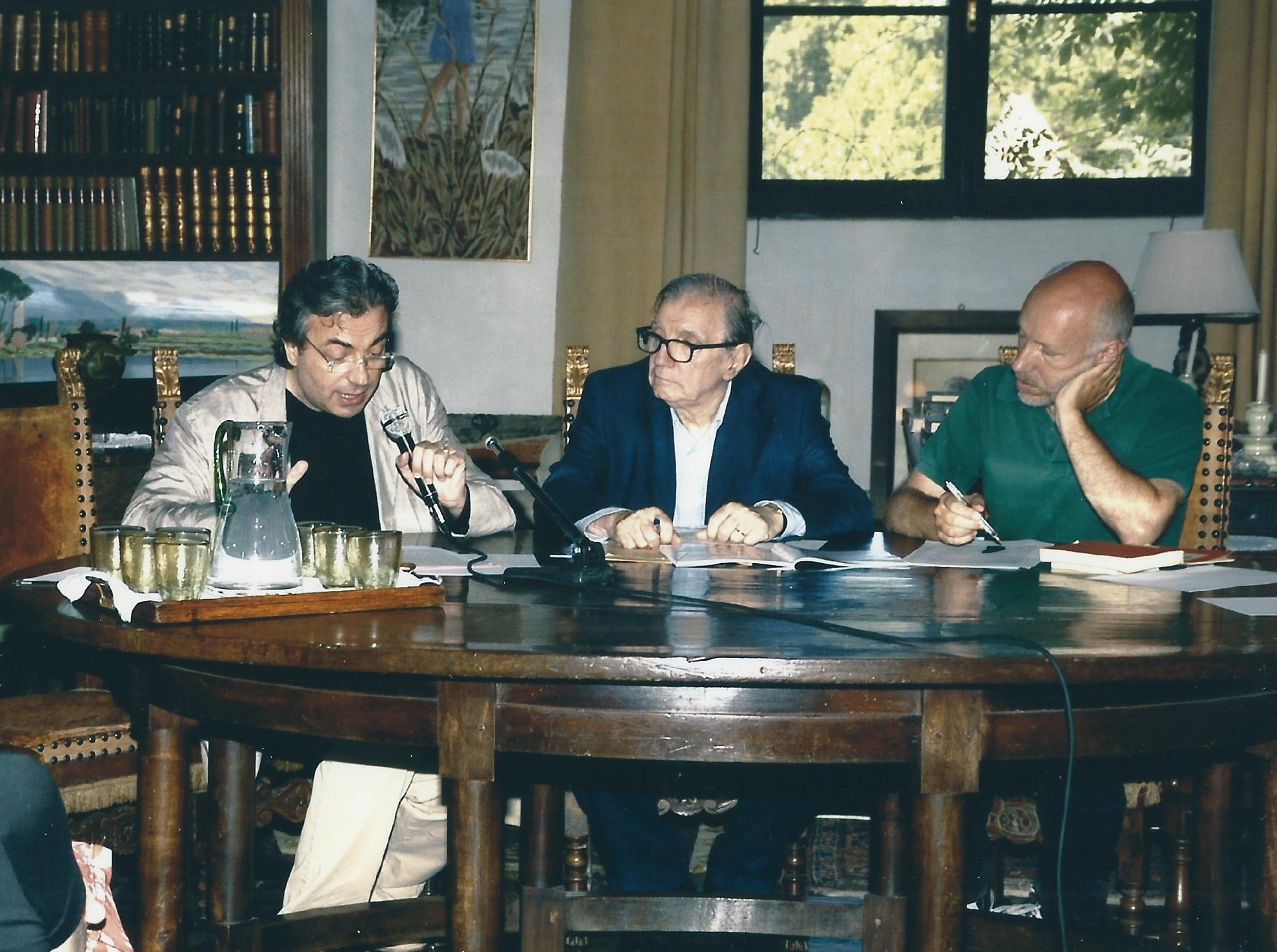 MARIO MESSINIS, ALBERTO CAPRIOLI AND STEFANO CATUCCI. SERMONETA, GIARDINI DI NINFA, JUNE 2007