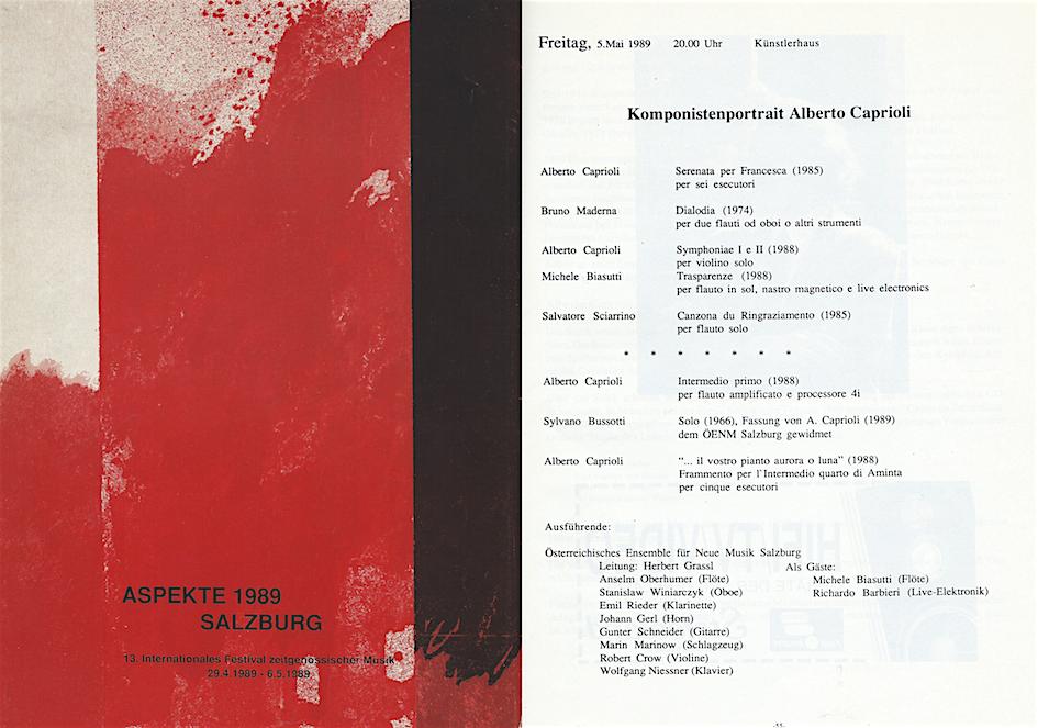 SALZBURG, FESTIVAL ASPEKTE 1989, KOMPONISTENPORTRÄT ALBERTO CAPRIOLI