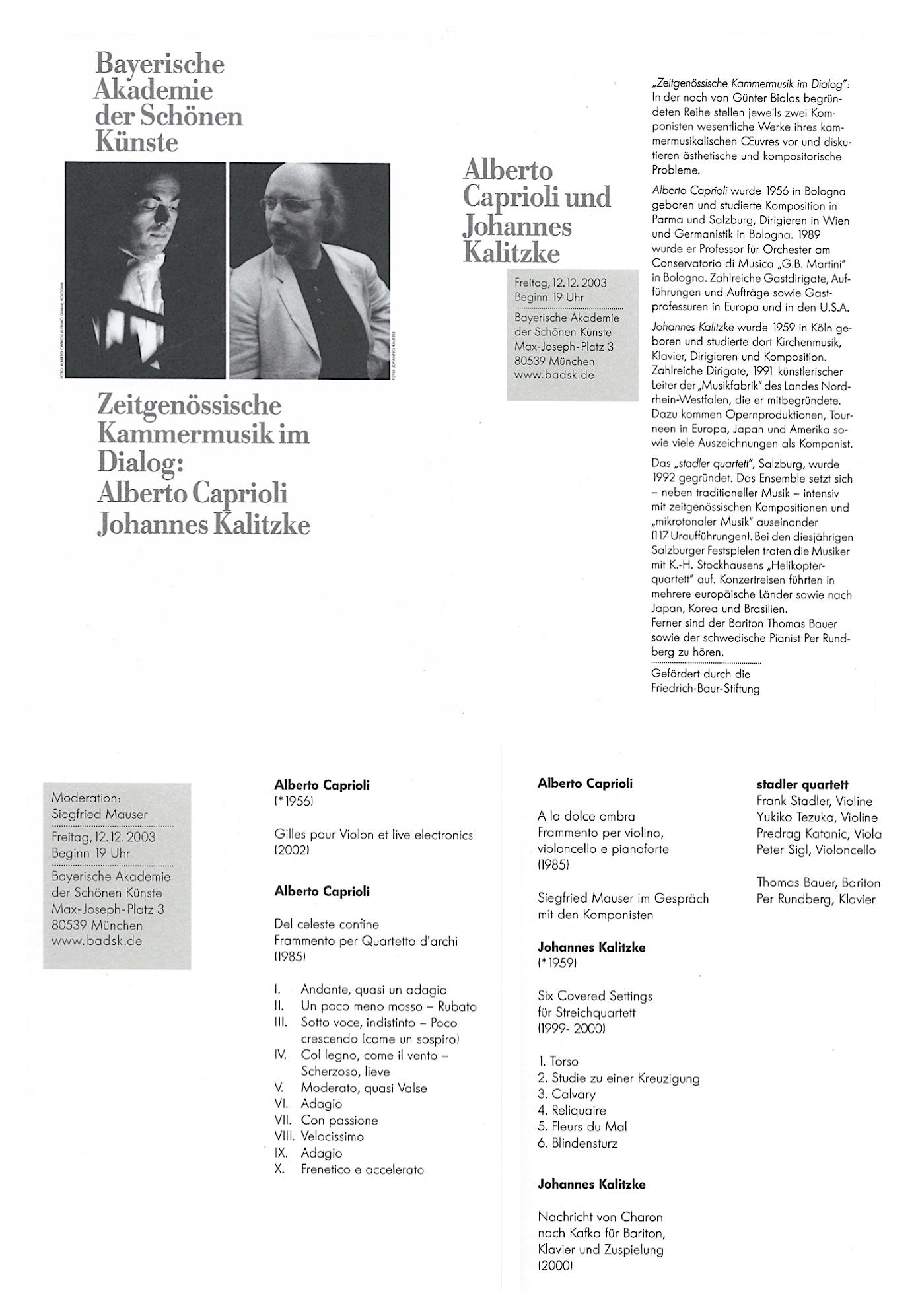BAYERISCHE AKADEMIE DER SCHÖNEN KÜNSTE, MÜNCHEN 2003