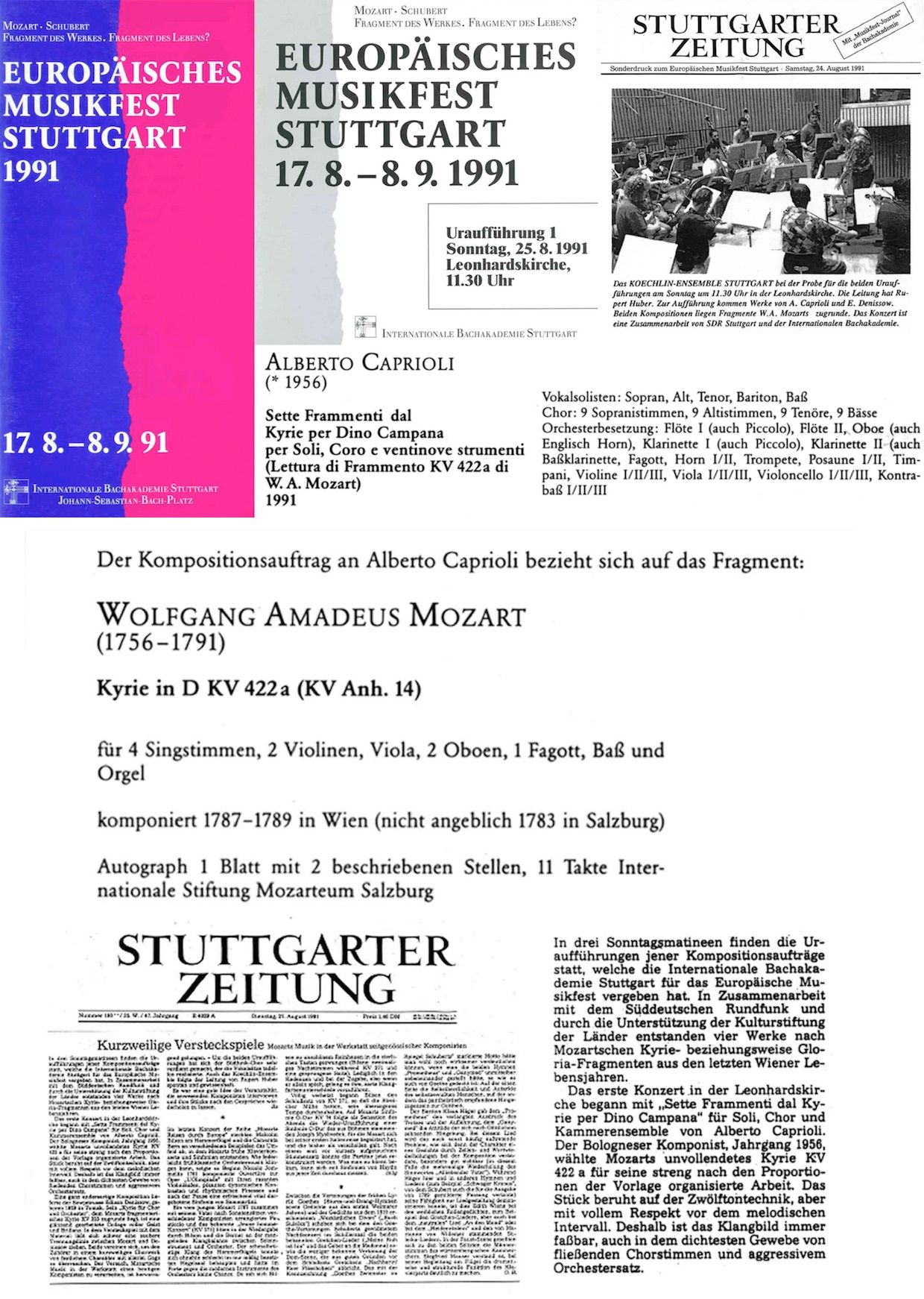 EUROPÄISCHES MUSIKFEST STUTTGART 1991