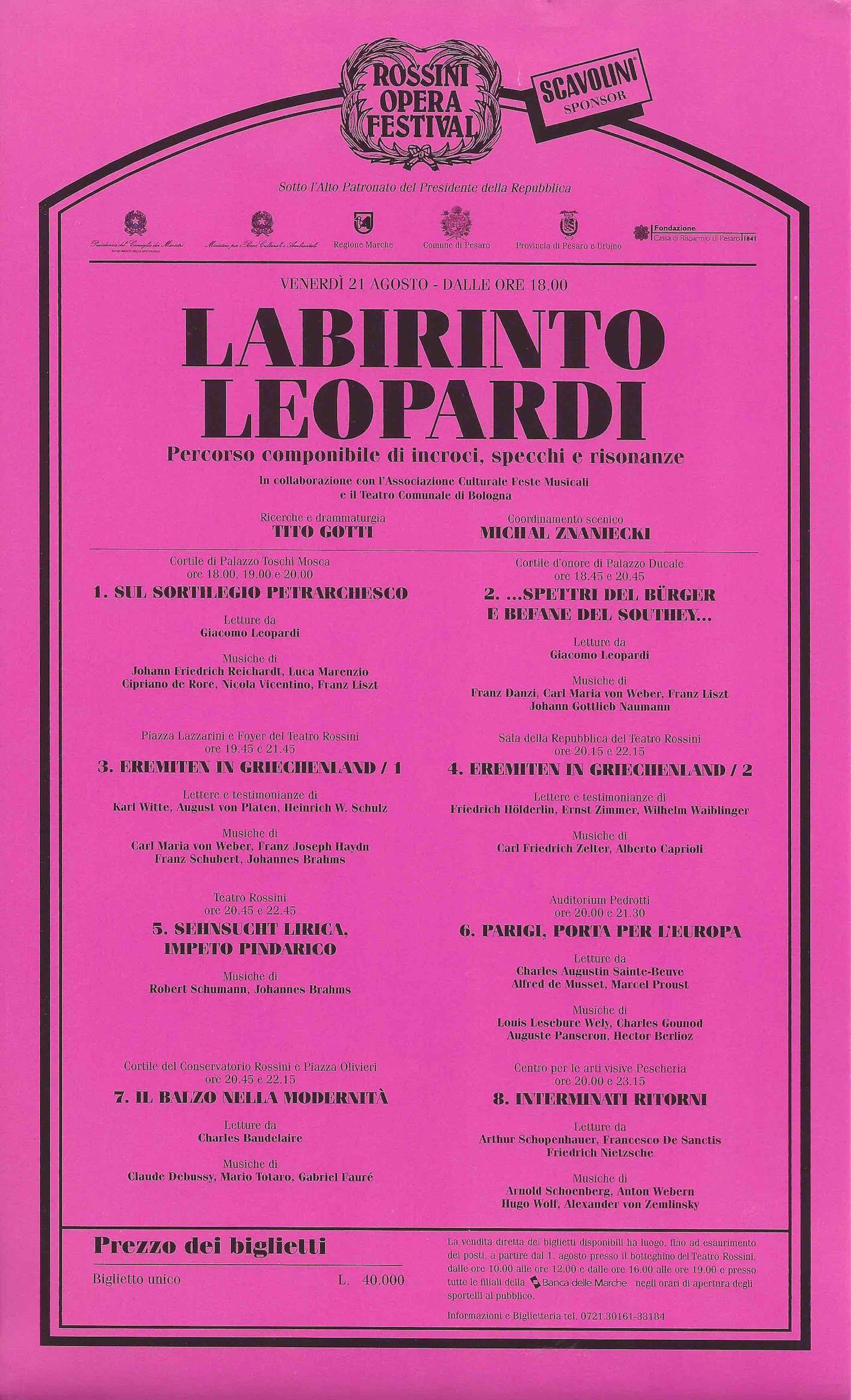 LABIRINTO LEOPARDI - ROSSINI OPERA FESTIVAL 1998