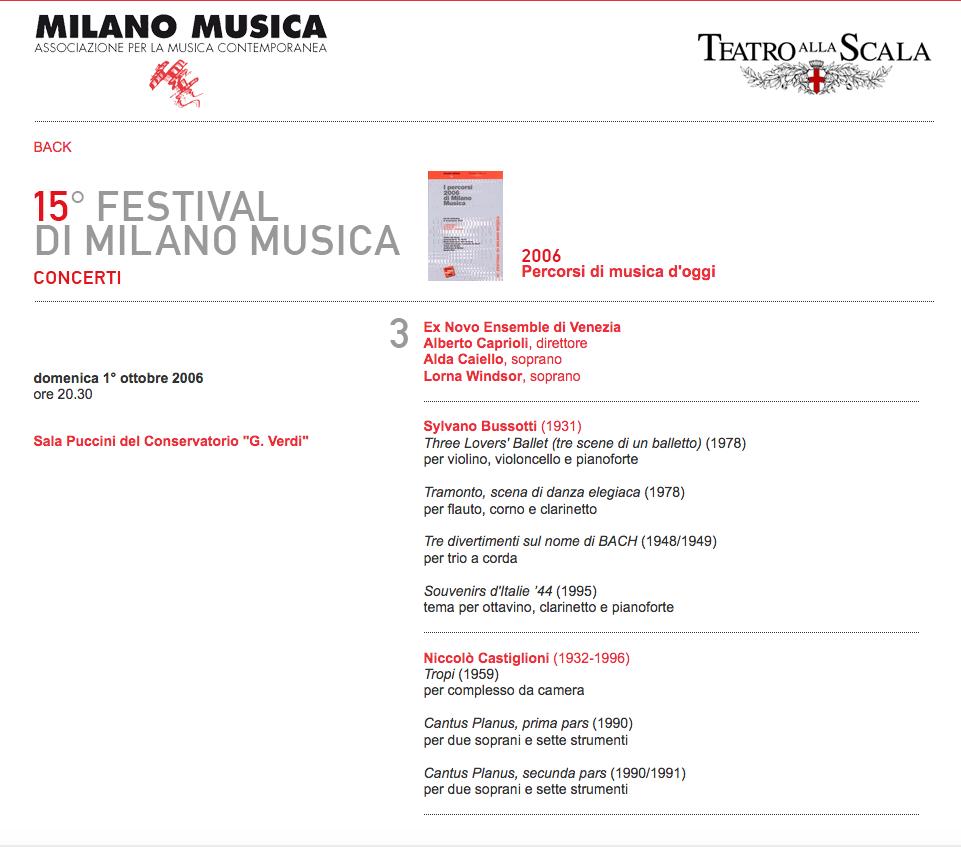 MILANO MUSICA 2006