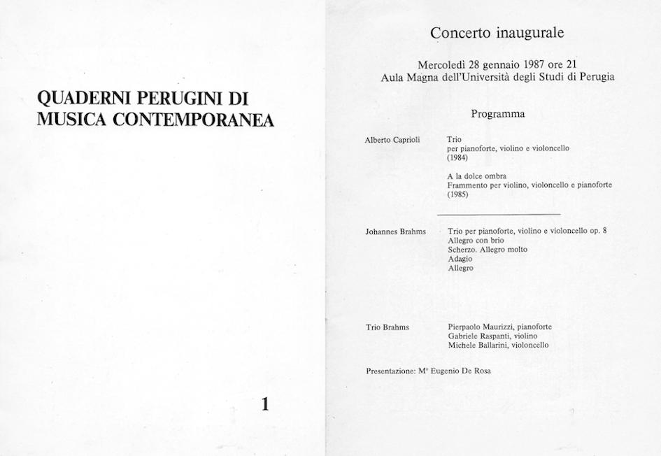 QUADERNI PERUGINI DI MUSICA CONTEMPORANEA, 1, 1987