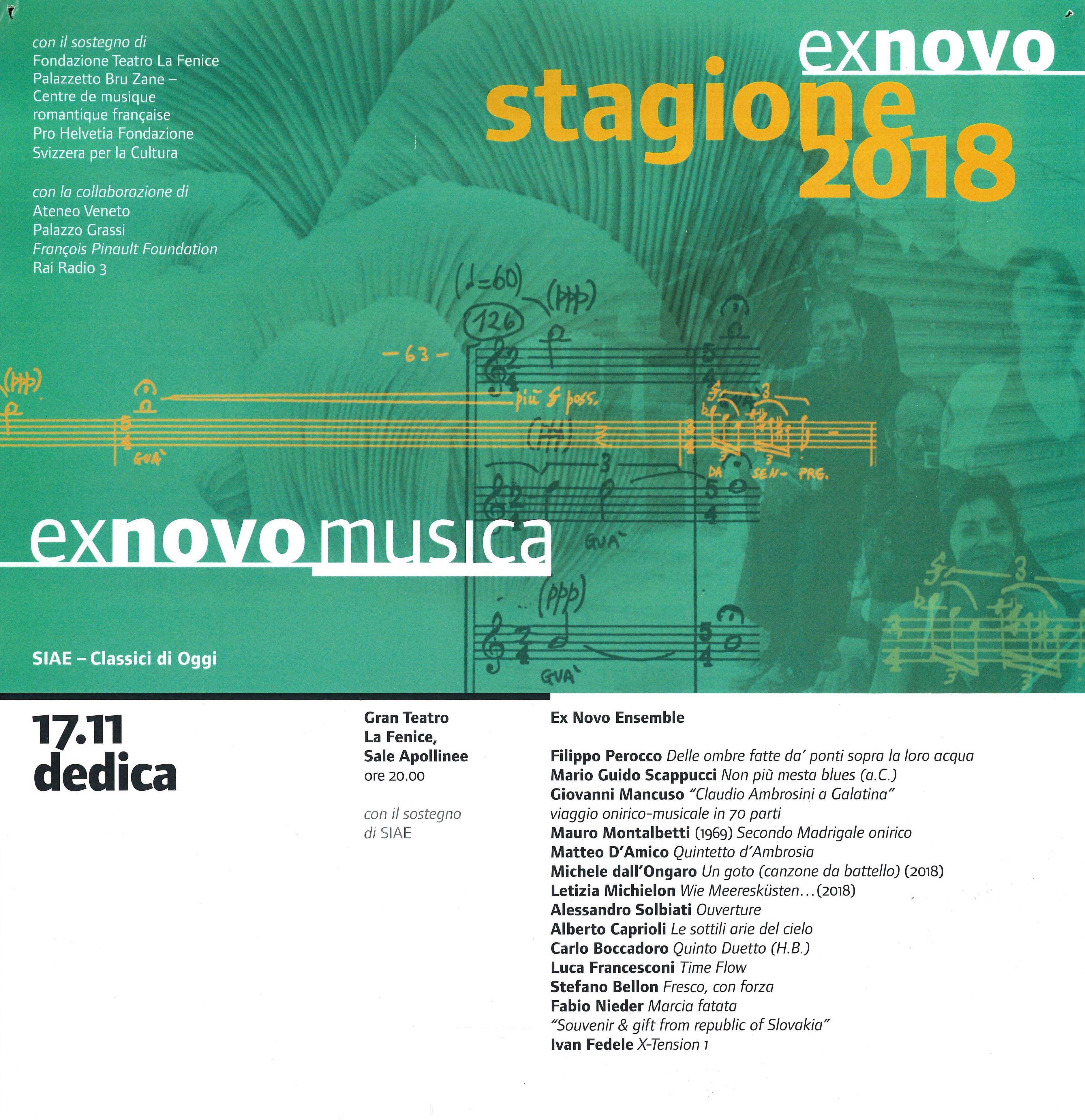 EX NOVO MUSICA 2018 - SALE APOLLINEE DEL GRAN TEATRO LA FENICE - CONCERTO-DEDICA A CLAUDIO AMBROSINI