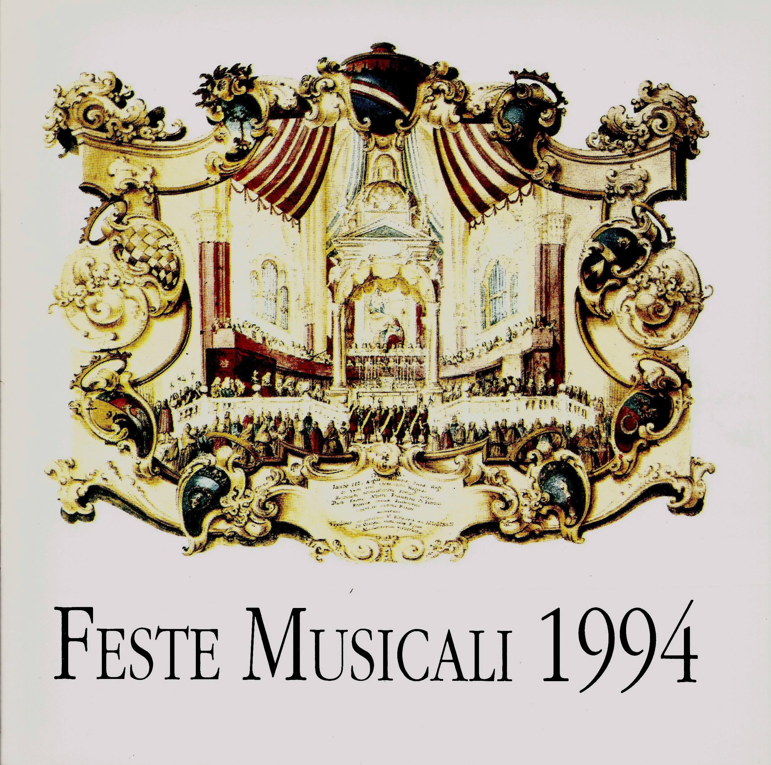 BOLOGNA, FESTE MUSICALI 1994. ALBERTO CAPRIOLI, DITTICO BACIATO