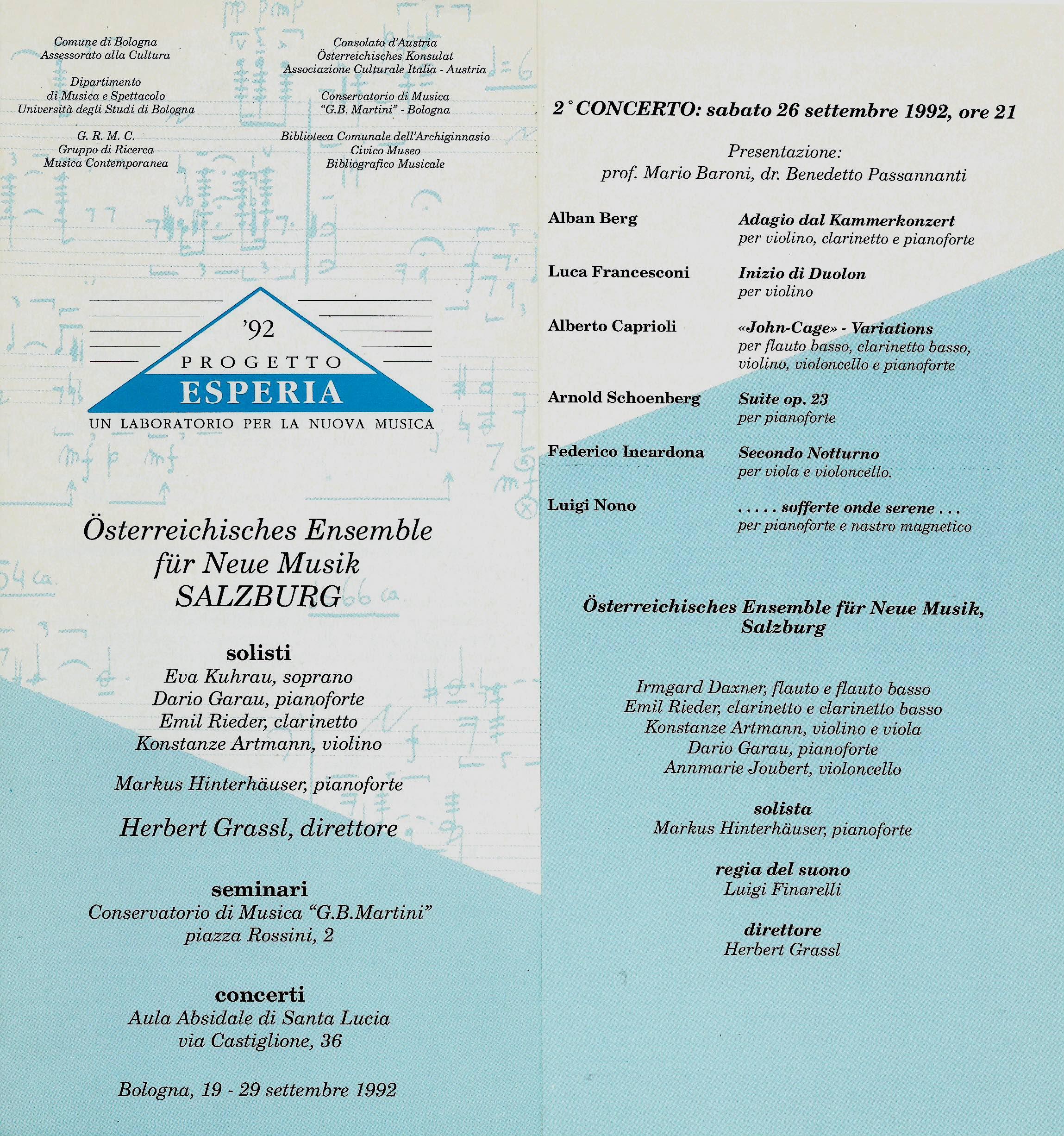 BOLOGNA, PROGETTO ESPERIA 1992. ALBERTO CAPRIOLI, JOHN CAGE VARIATIONS