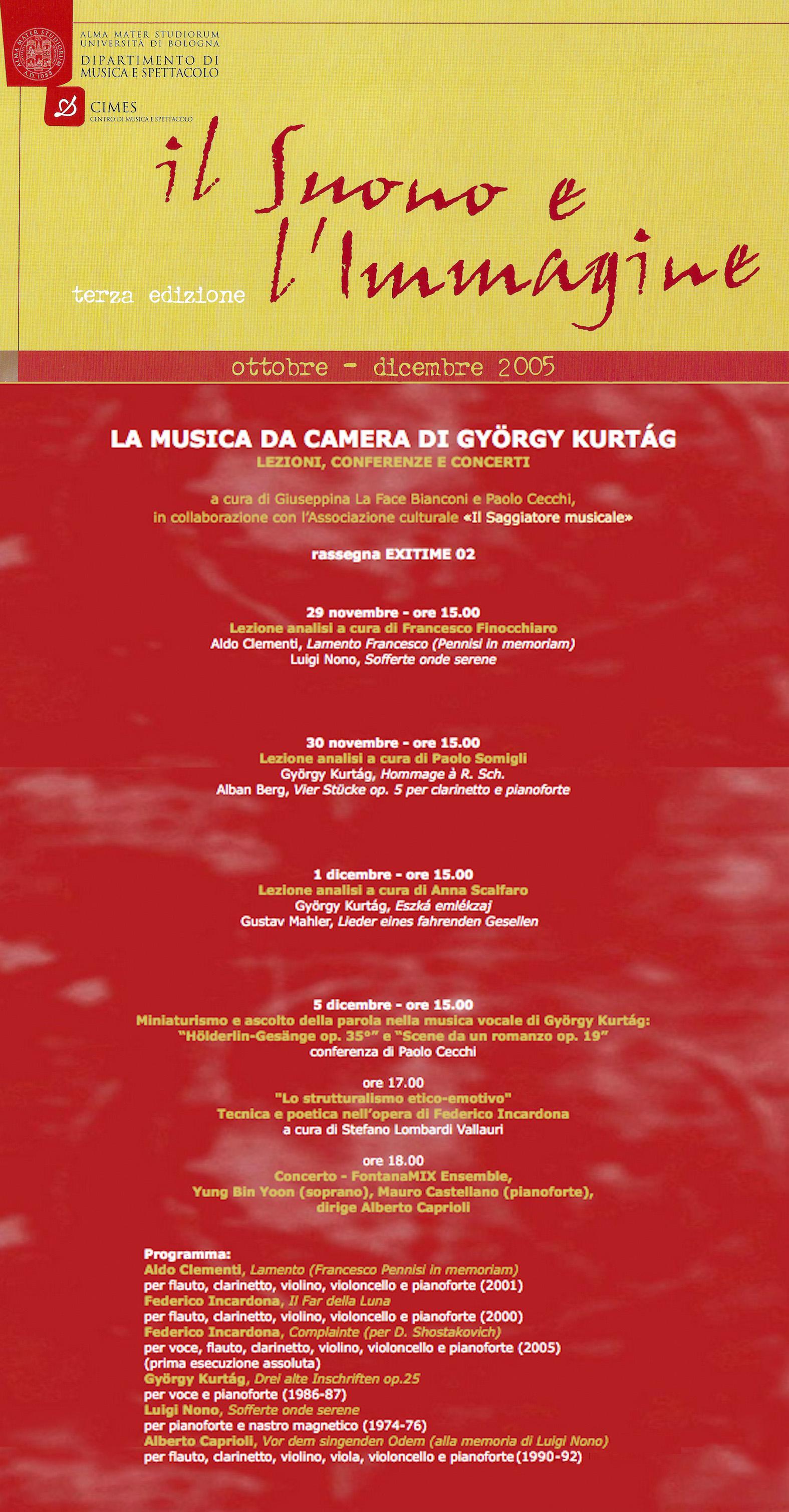 IL SUONO E L'IMMAGINE III EDIZIONE UNIVERSITÀ DI BOLOGNA, 5.12.2002